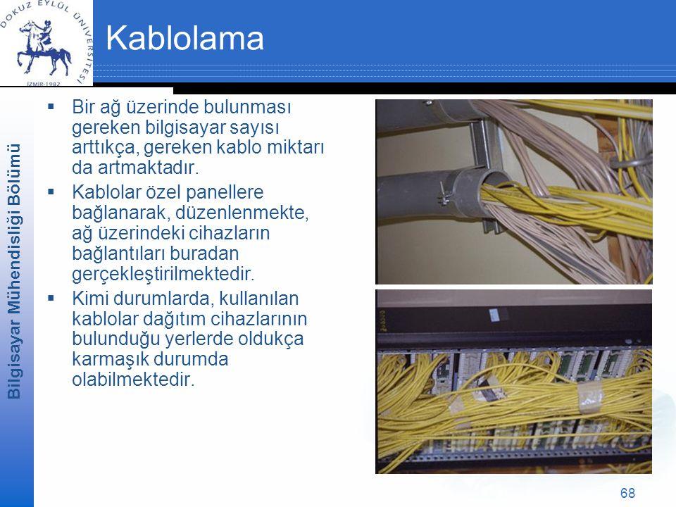 Kablolama Bir ağ üzerinde bulunması gereken bilgisayar sayısı arttıkça, gereken kablo miktarı da artmaktadır.