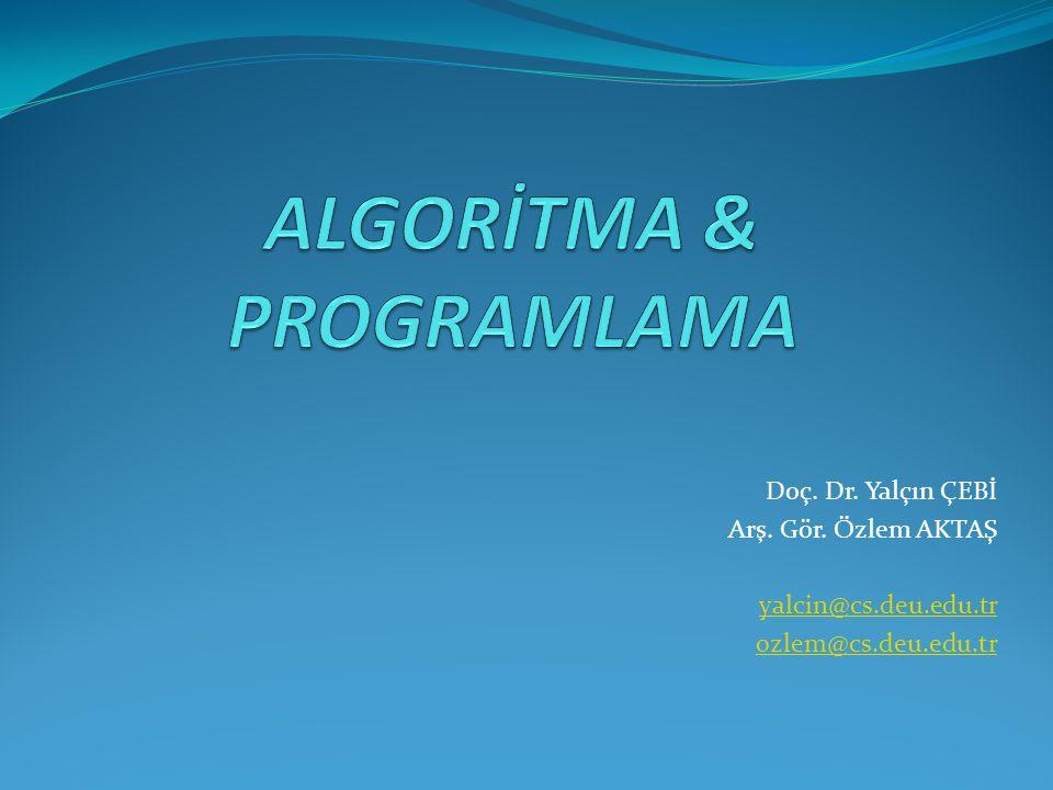 ALGORİTMA & PROGRAMLAMA