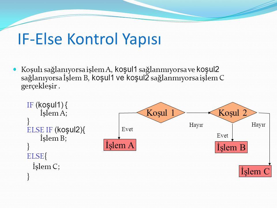 IF-Else Kontrol Yapısı