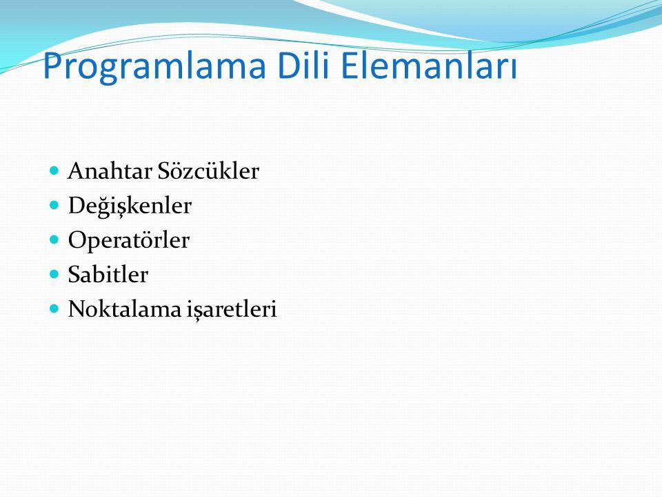 Programlama Dili Elemanları