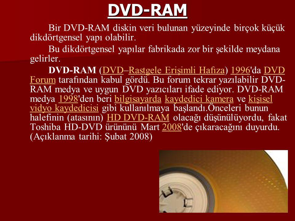 DVD-RAM Bir DVD-RAM diskin veri bulunan yüzeyinde birçok küçük dikdörtgensel yapı olabilir.