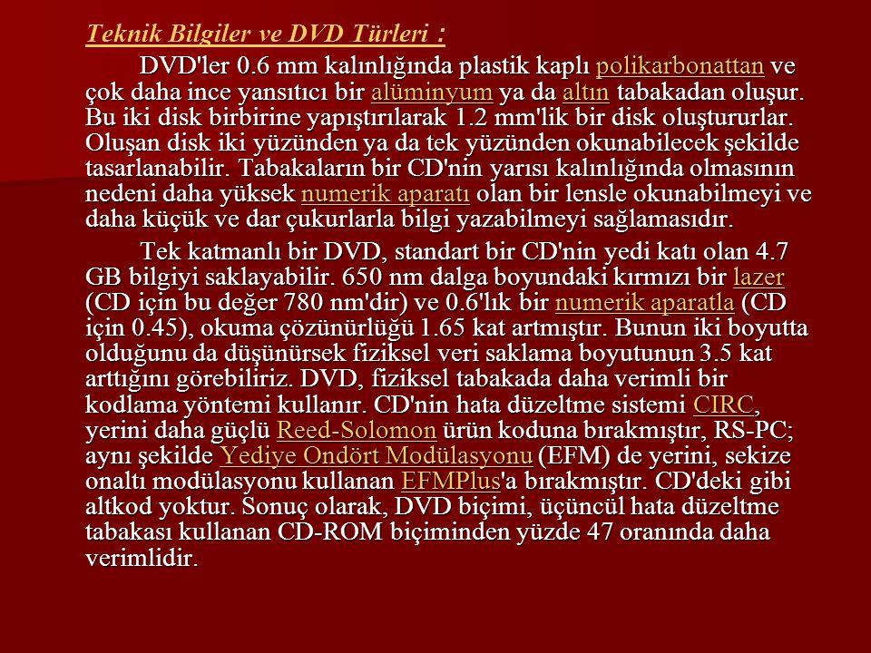 Teknik Bilgiler ve DVD Türleri :