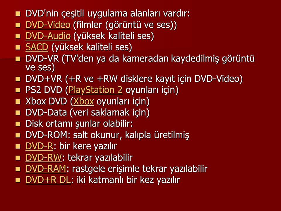 DVD nin çeşitli uygulama alanları vardır: