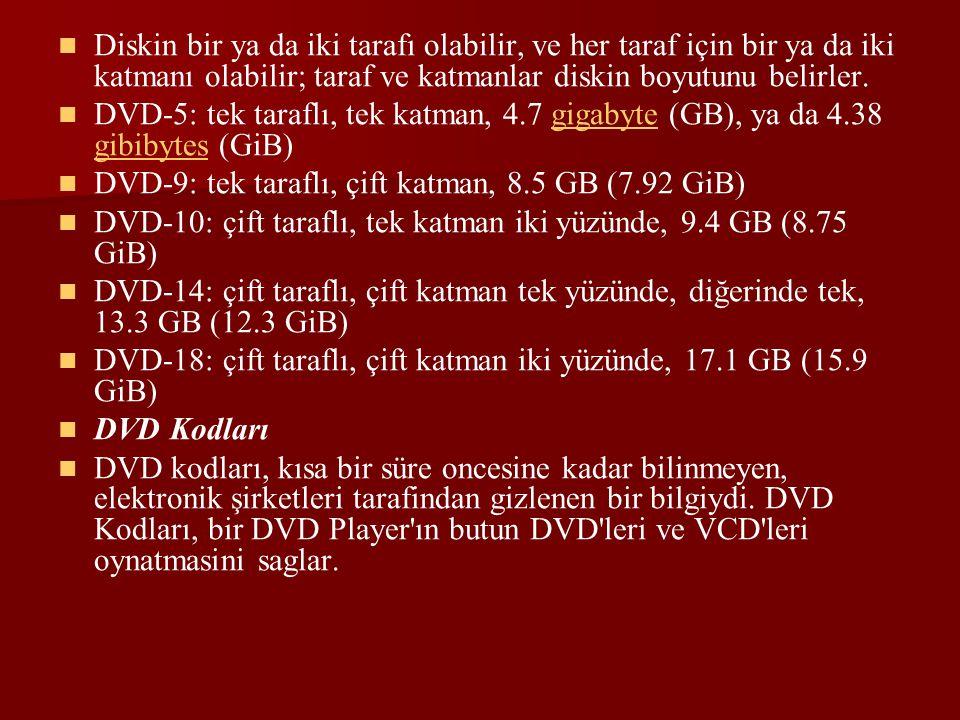 Diskin bir ya da iki tarafı olabilir, ve her taraf için bir ya da iki katmanı olabilir; taraf ve katmanlar diskin boyutunu belirler.