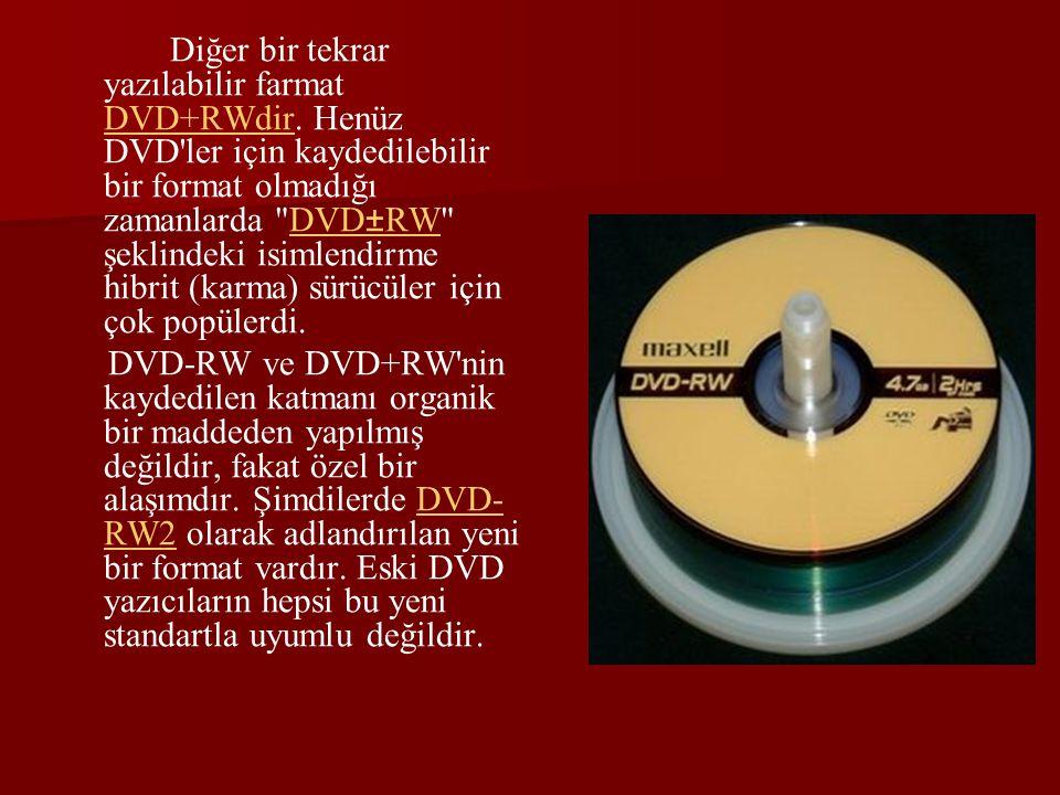 Diğer bir tekrar yazılabilir farmat DVD+RWdir