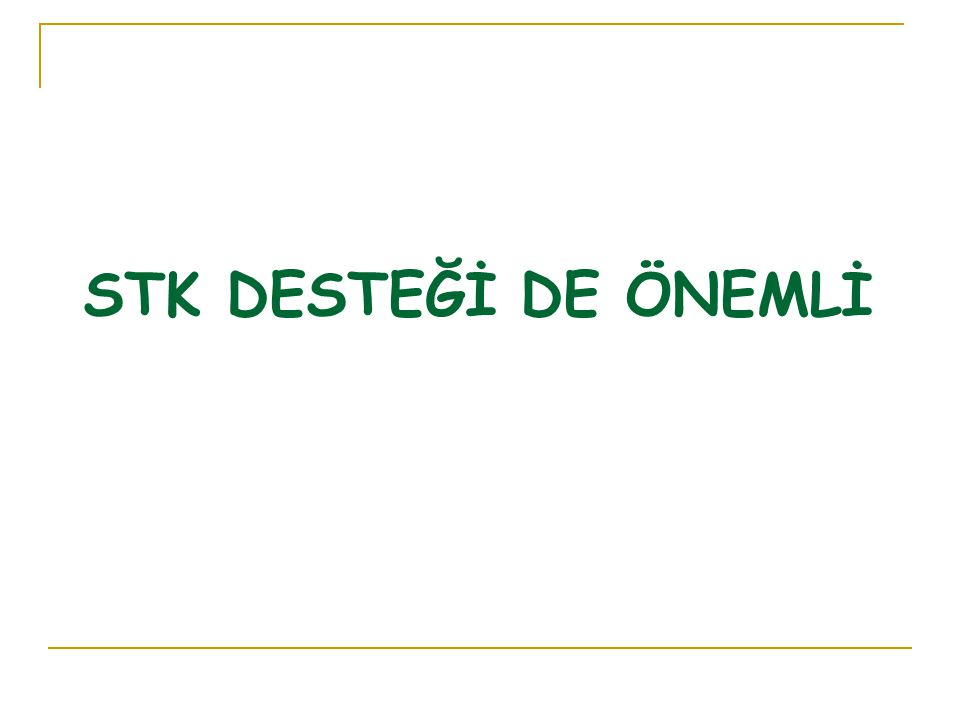 STK DESTEĞİ DE ÖNEMLİ