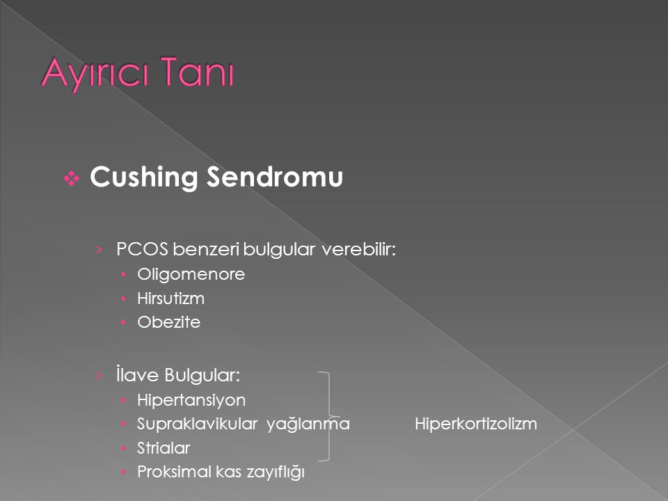 Ayırıcı Tanı Cushing Sendromu PCOS benzeri bulgular verebilir: