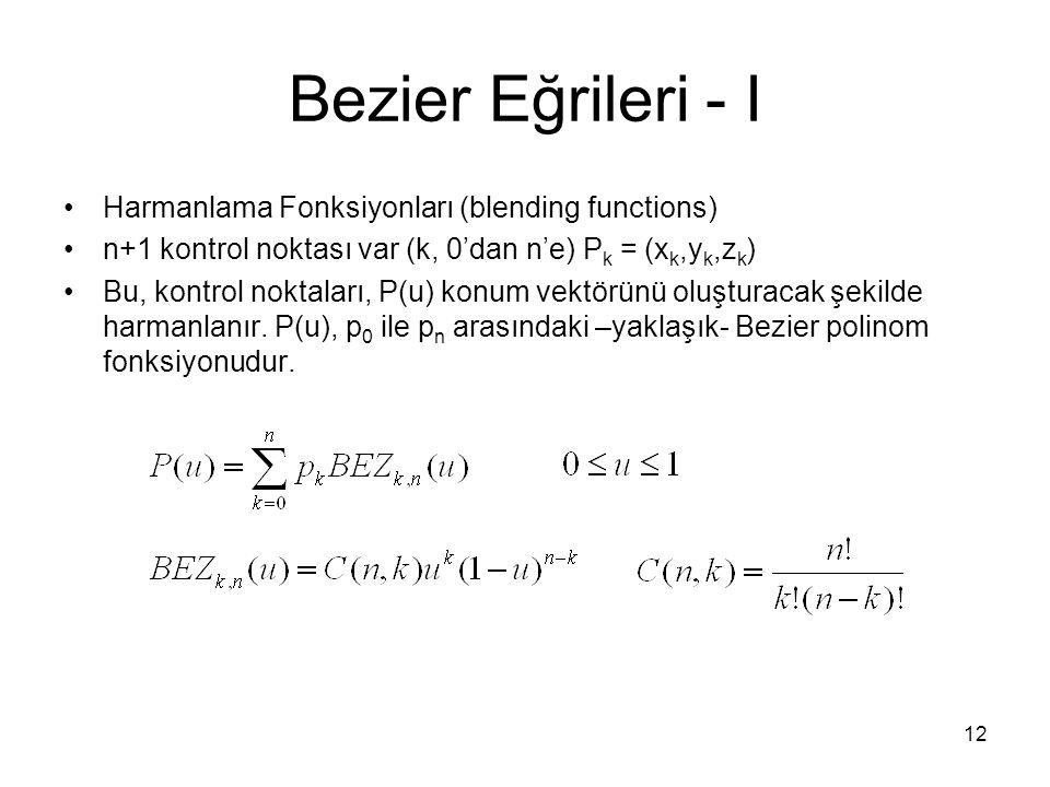 Bezier Eğrileri - I Harmanlama Fonksiyonları (blending functions)