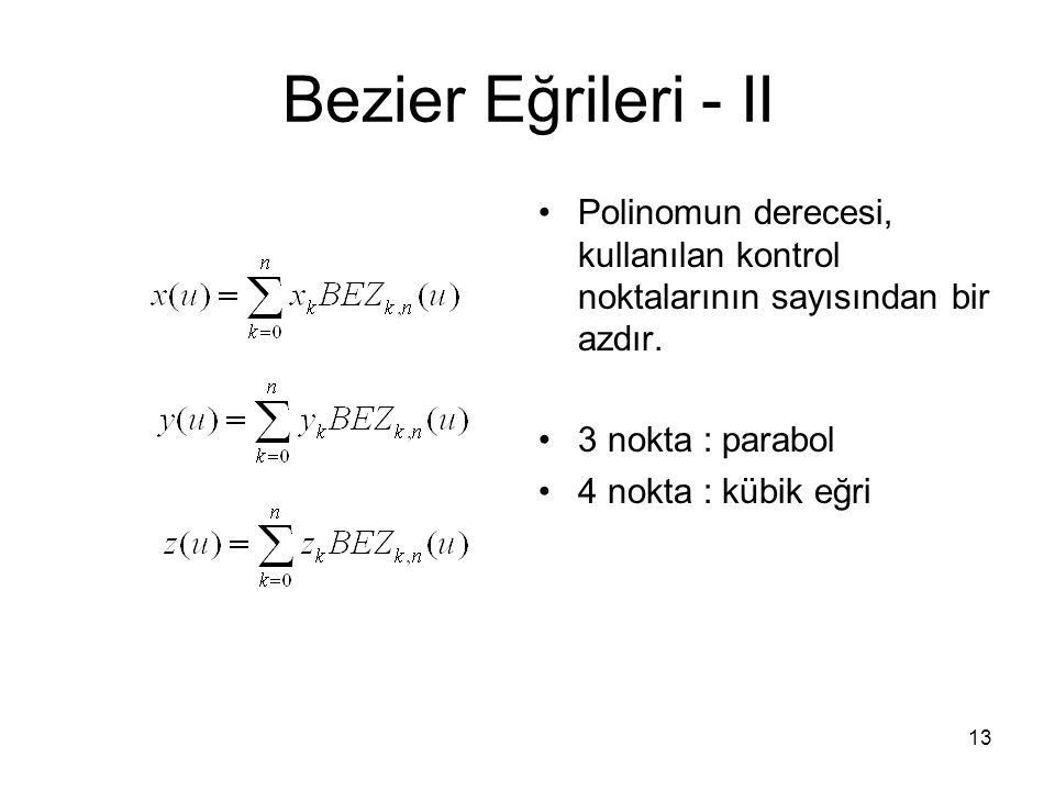 Bezier Eğrileri - II Polinomun derecesi, kullanılan kontrol noktalarının sayısından bir azdır. 3 nokta : parabol.