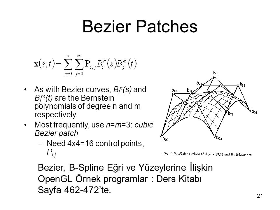 Bezier Patches As with Bezier curves, Bin(s) and Bjm(t) are the Bernstein polynomials of degree n and m respectively.