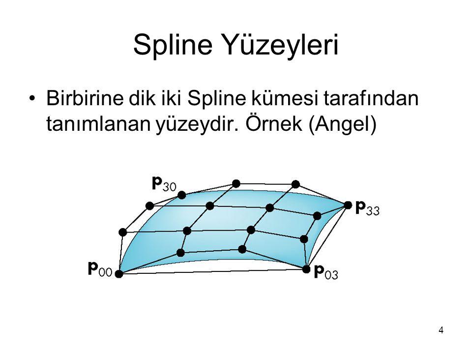 Spline Yüzeyleri Birbirine dik iki Spline kümesi tarafından tanımlanan yüzeydir. Örnek (Angel)