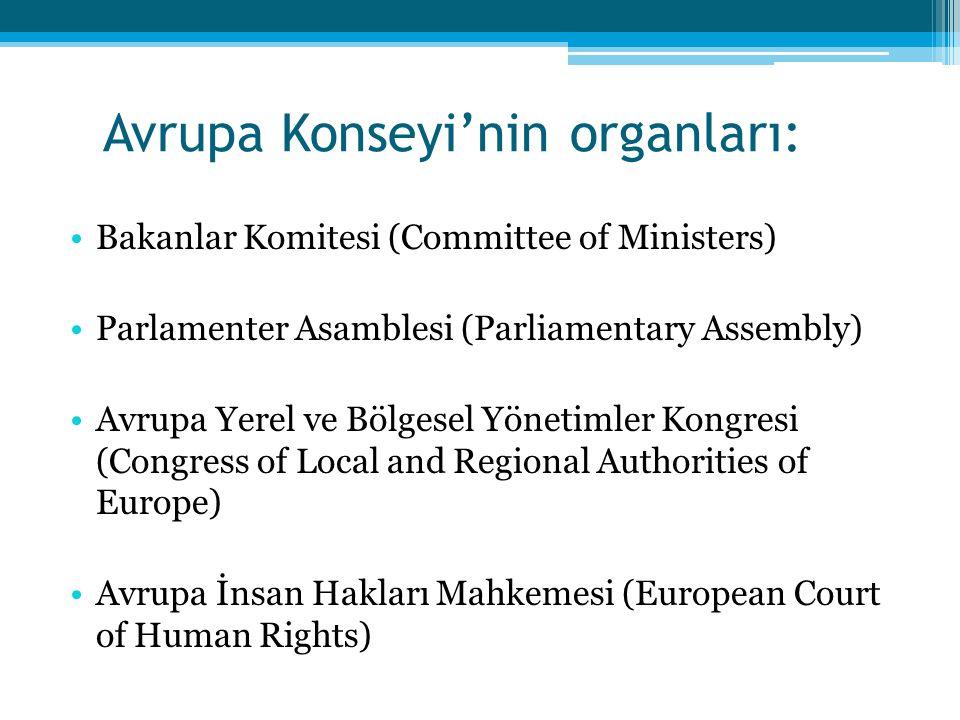 Avrupa Konseyi'nin organları: