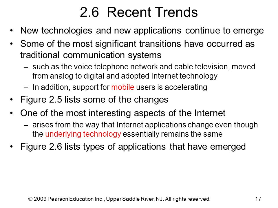 2.6 Recent Trends New technologies and new applications continue to emerge.