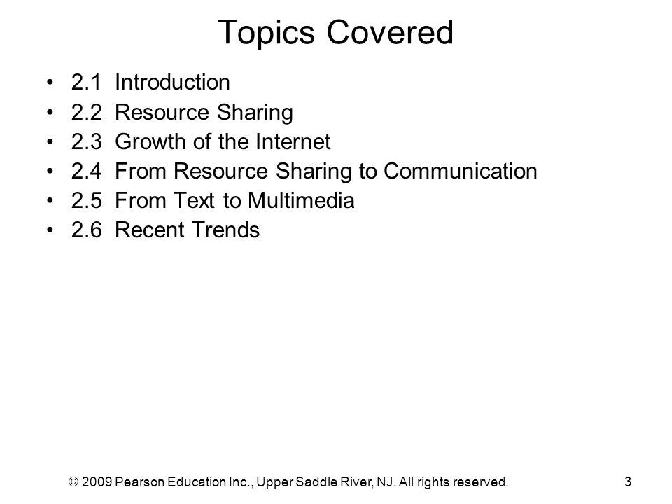 Topics Covered 2.1 Introduction 2.2 Resource Sharing