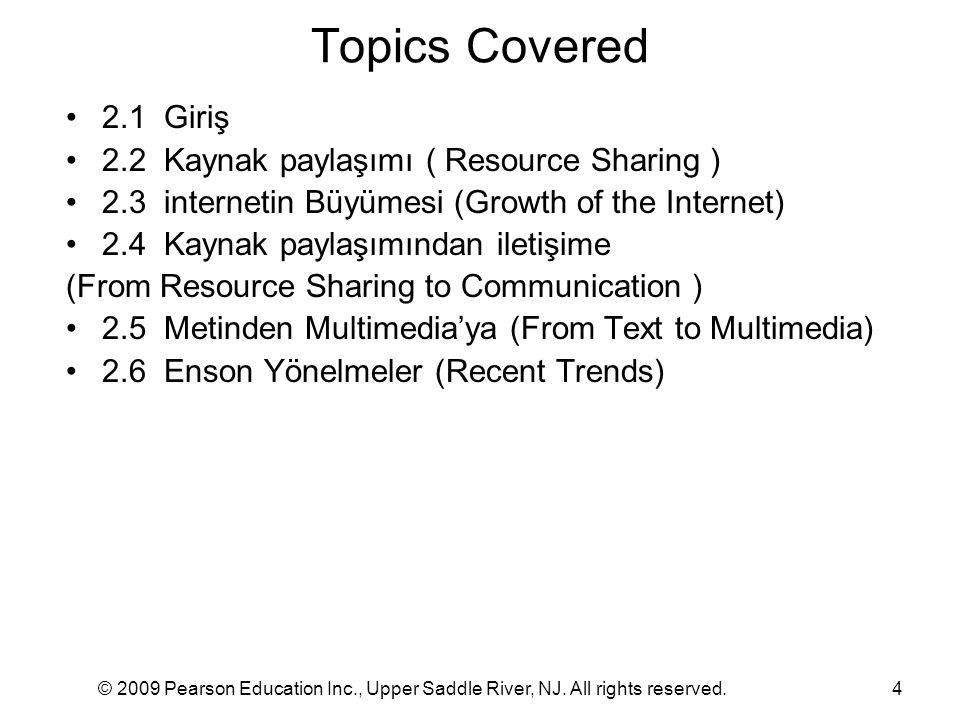 Topics Covered 2.1 Giriş 2.2 Kaynak paylaşımı ( Resource Sharing )