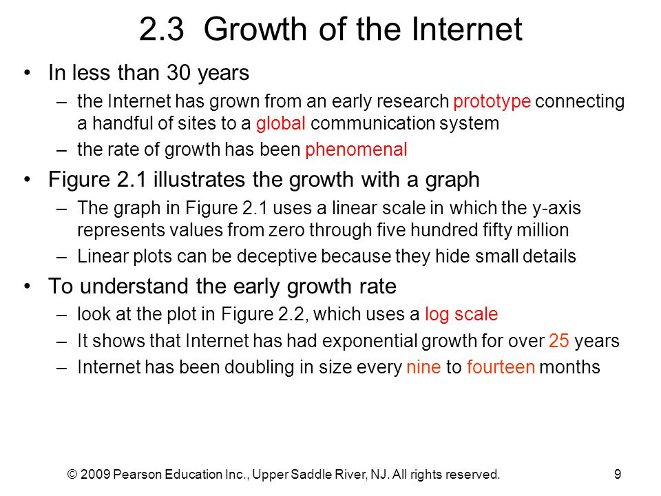 2.3 Growth of the Internet In less than 30 years