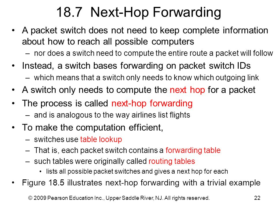 18.7 Next-Hop Forwarding A packet switch does not need to keep complete information about how to reach all possible computers.