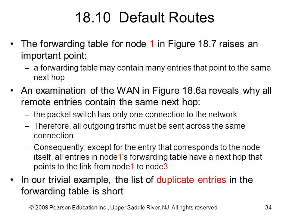 18.10 Default Routes The forwarding table for node 1 in Figure 18.7 raises an important point: