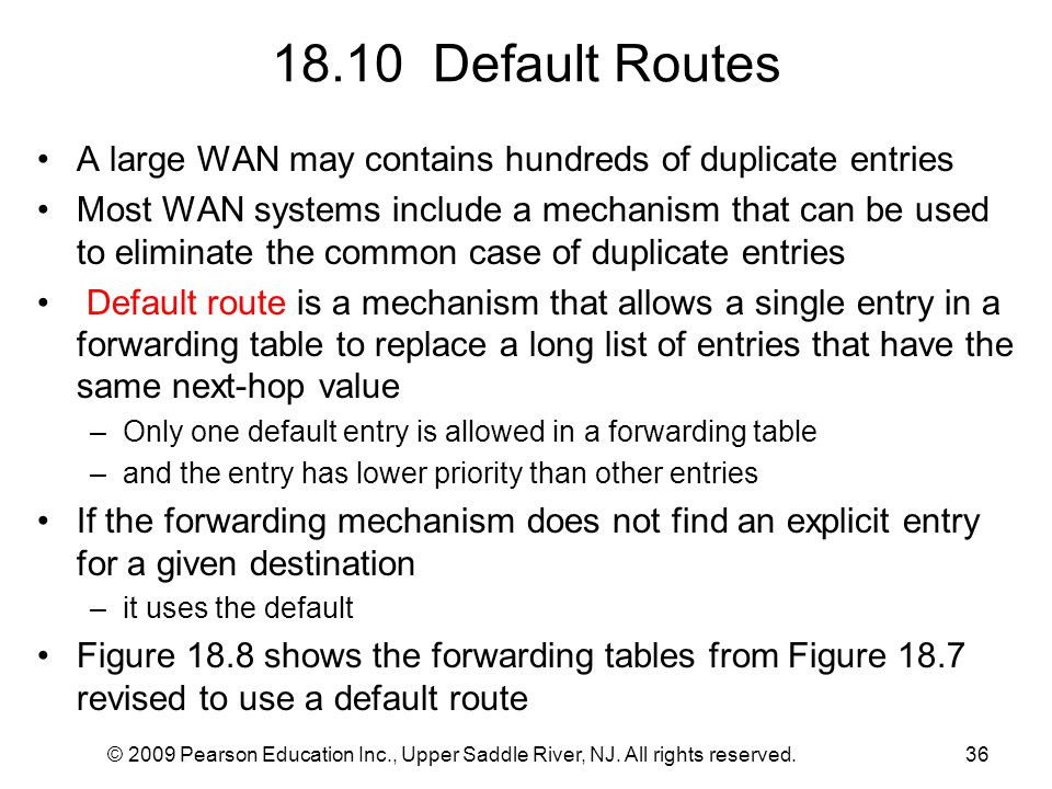 18.10 Default Routes A large WAN may contains hundreds of duplicate entries.