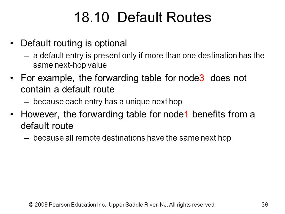 18.10 Default Routes Default routing is optional