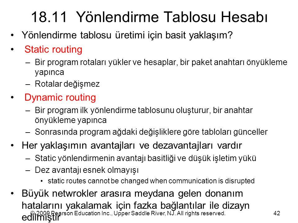 18.11 Yönlendirme Tablosu Hesabı