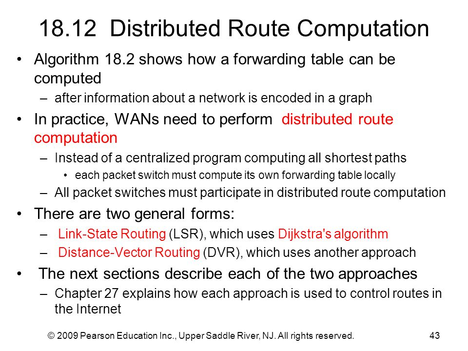 18.12 Distributed Route Computation