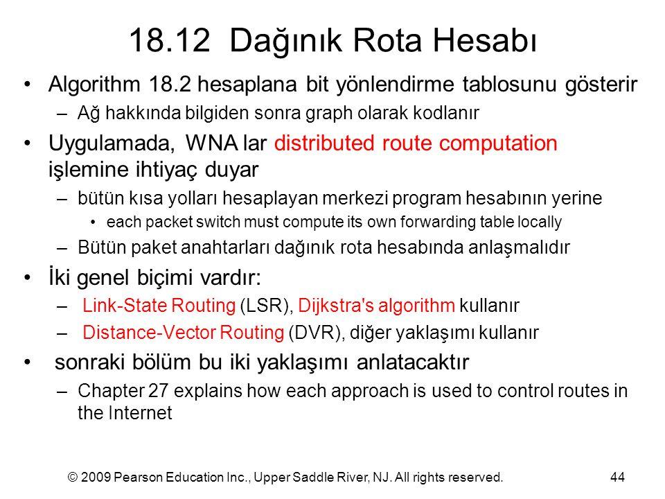 18.12 Dağınık Rota Hesabı Algorithm 18.2 hesaplana bit yönlendirme tablosunu gösterir. Ağ hakkında bilgiden sonra graph olarak kodlanır.