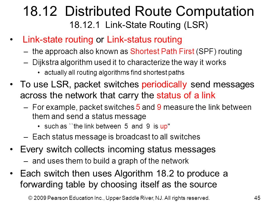 18.12 Distributed Route Computation 18.12.1 Link-State Routing (LSR)