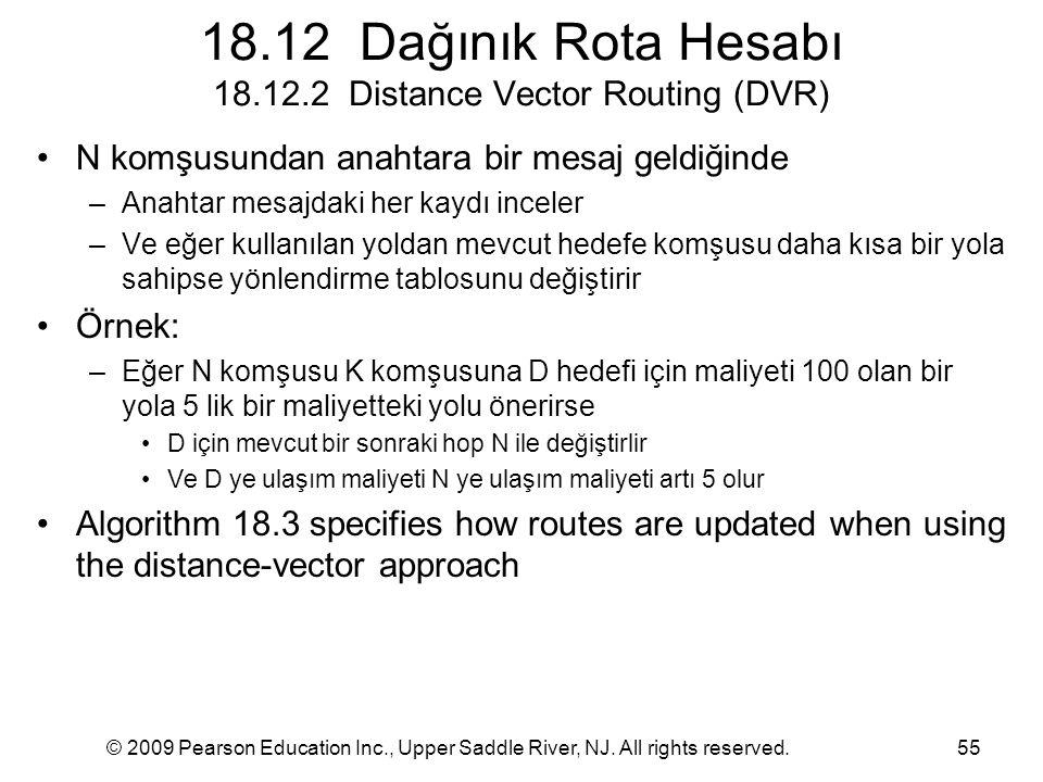 18.12 Dağınık Rota Hesabı 18.12.2 Distance Vector Routing (DVR)