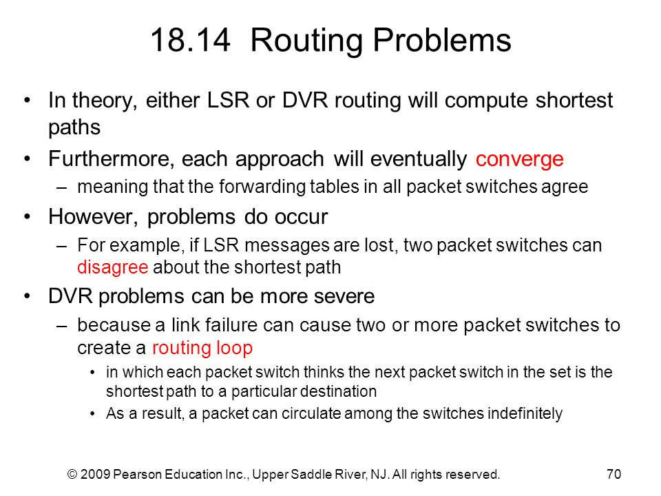 18.14 Routing Problems In theory, either LSR or DVR routing will compute shortest paths. Furthermore, each approach will eventually converge.