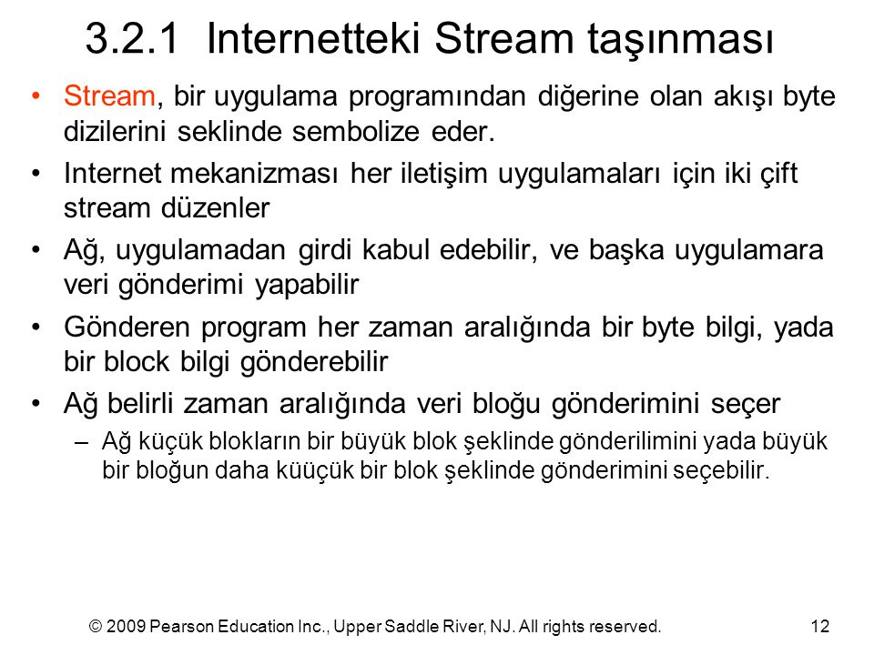 3.2.1 Internetteki Stream taşınması