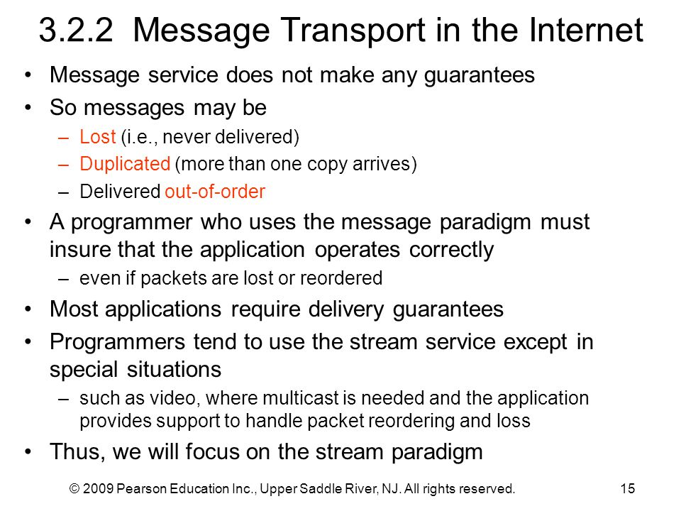 3.2.2 Message Transport in the Internet