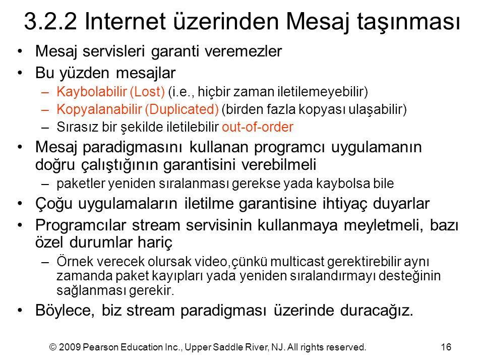 3.2.2 Internet üzerinden Mesaj taşınması