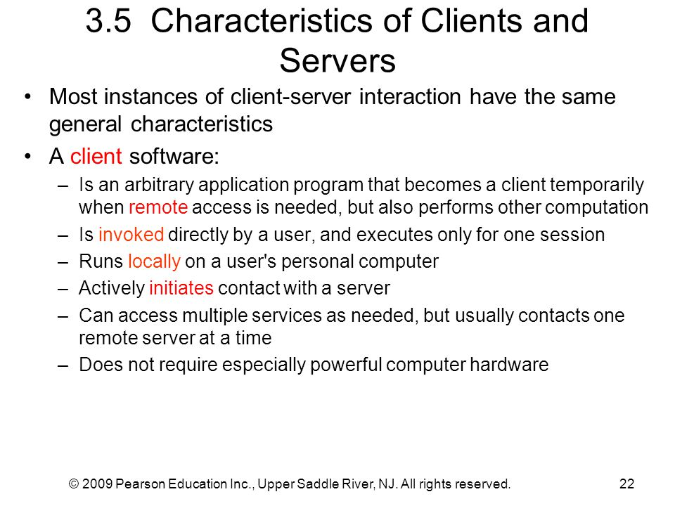 3.5 Characteristics of Clients and Servers
