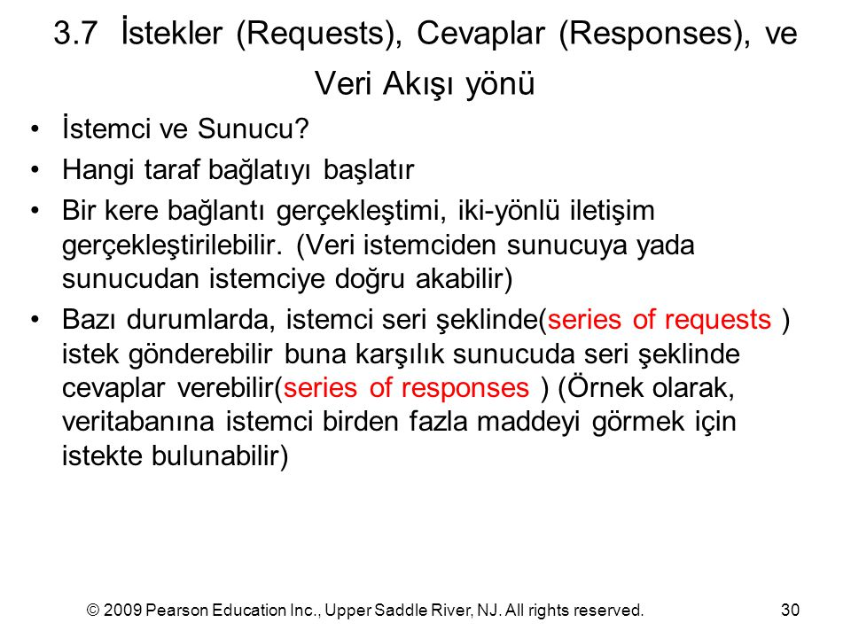 3.7 İstekler (Requests), Cevaplar (Responses), ve Veri Akışı yönü