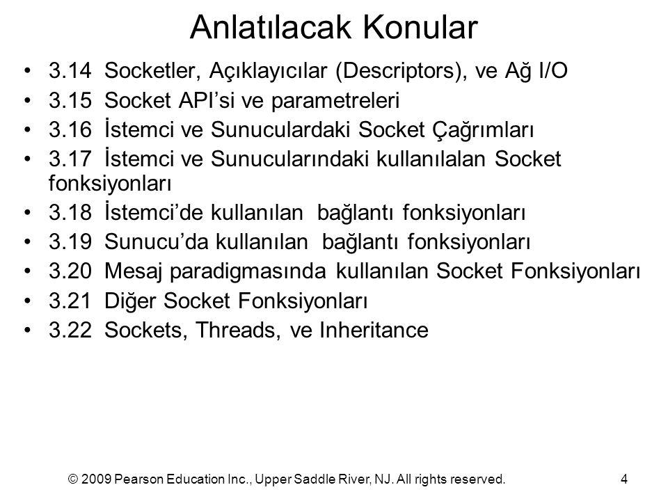 Anlatılacak Konular 3.14 Socketler, Açıklayıcılar (Descriptors), ve Ağ I/O. 3.15 Socket API'si ve parametreleri.