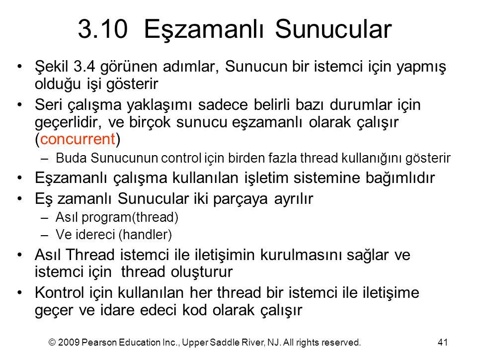 3.10 Eşzamanlı Sunucular Şekil 3.4 görünen adımlar, Sunucun bir istemci için yapmış olduğu işi gösterir.