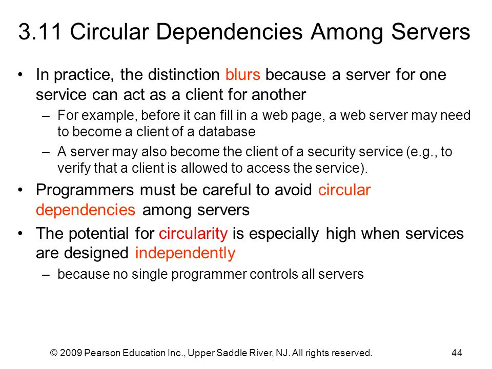 3.11 Circular Dependencies Among Servers