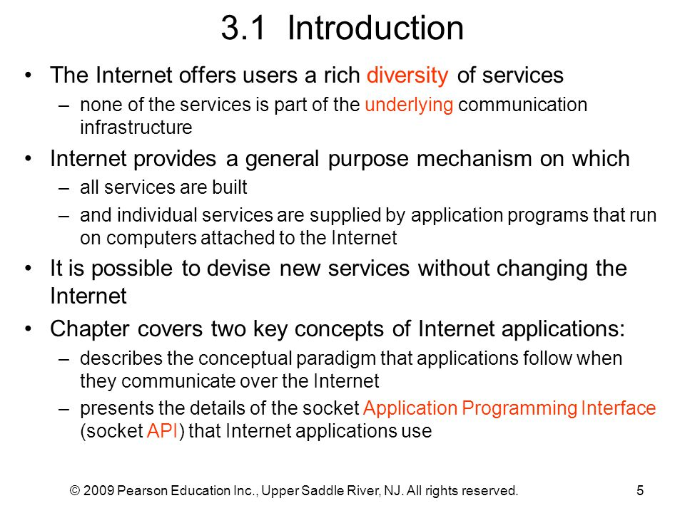 3.1 Introduction The Internet offers users a rich diversity of services.