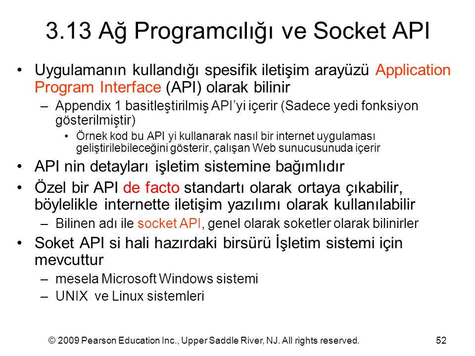 3.13 Ağ Programcılığı ve Socket API