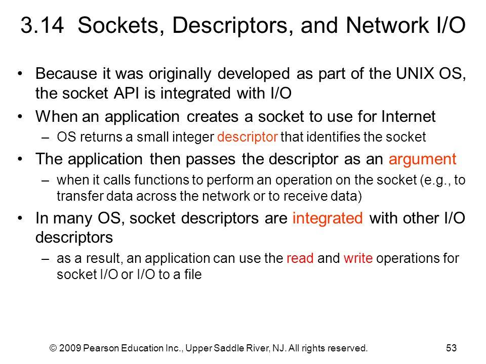 3.14 Sockets, Descriptors, and Network I/O