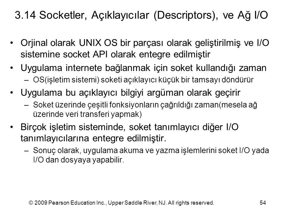 3.14 Socketler, Açıklayıcılar (Descriptors), ve Ağ I/O