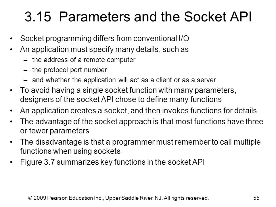 3.15 Parameters and the Socket API