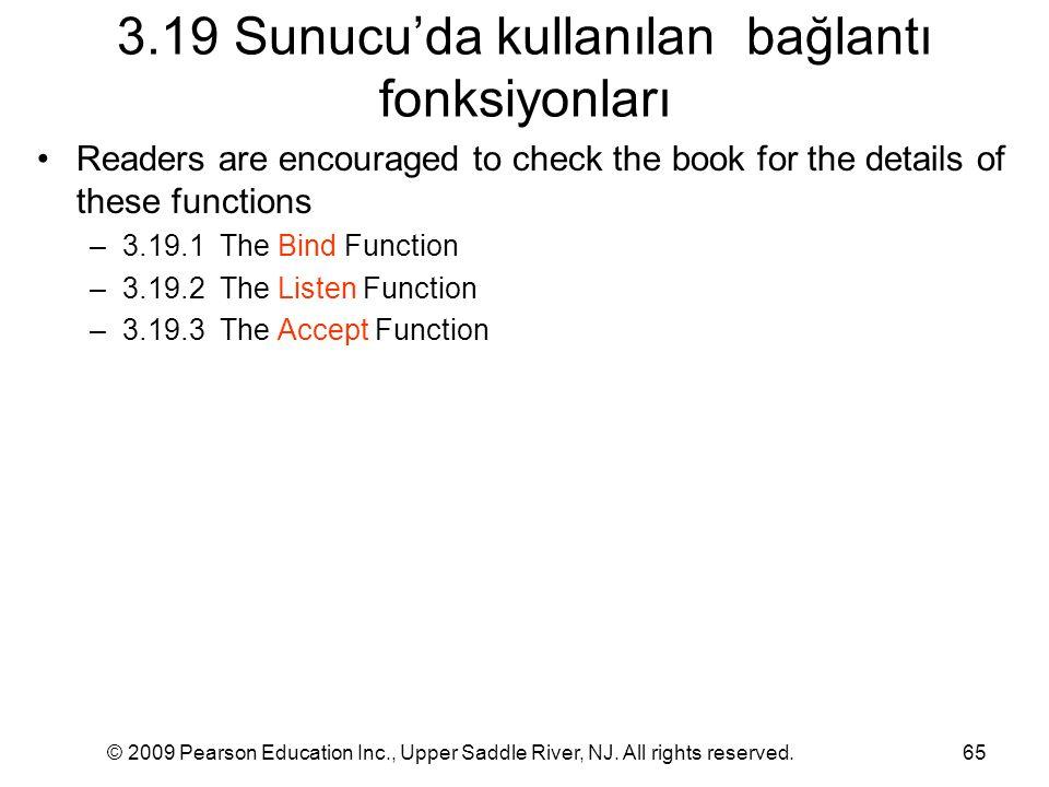 3.19 Sunucu'da kullanılan bağlantı fonksiyonları
