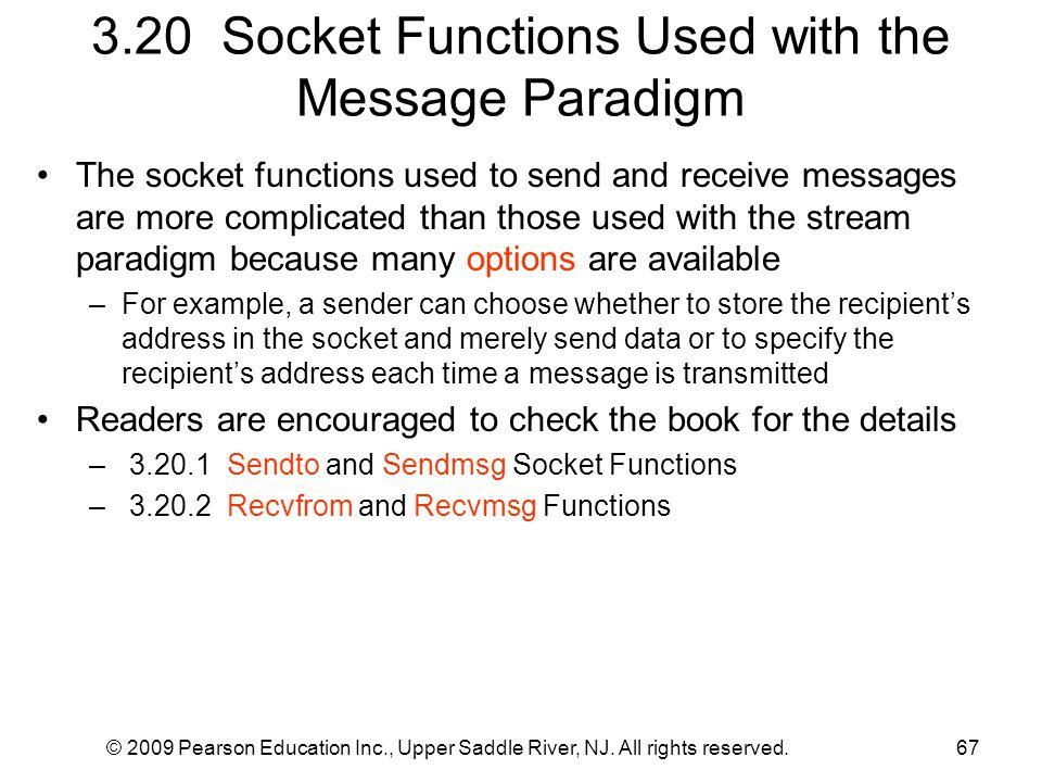 3.20 Socket Functions Used with the Message Paradigm