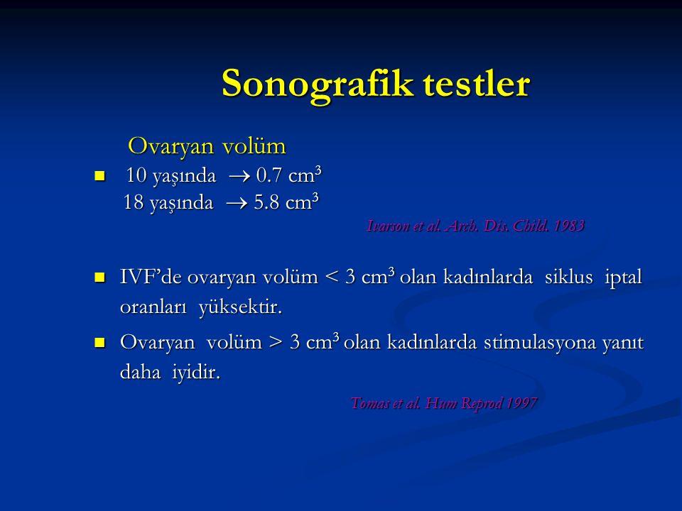 Sonografik testler Ovaryan volüm 10 yaşında  0.7 cm3