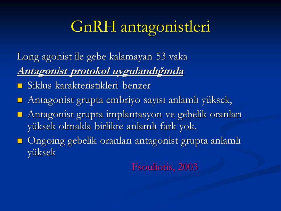 GnRH antagonistleri Long agonist ile gebe kalamayan 53 vaka