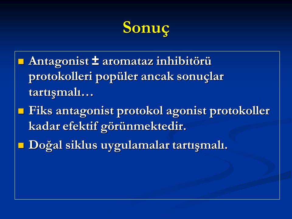 Sonuç Antagonist ± aromataz inhibitörü protokolleri popüler ancak sonuçlar tartışmalı…