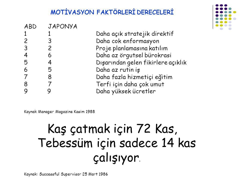 MOTİVASYON FAKTÖRLERİ DERECELERİ