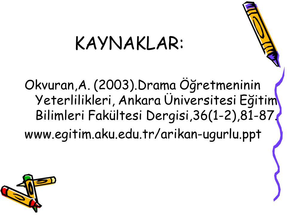KAYNAKLAR: Okvuran,A. (2003).Drama Öğretmeninin Yeterlilikleri, Ankara Üniversitesi Eğitim Bilimleri Fakültesi Dergisi,36(1-2),81-87.